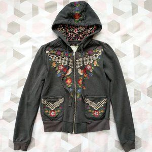 Flying Tomato Floral Bird Embroidered Hood Jacket